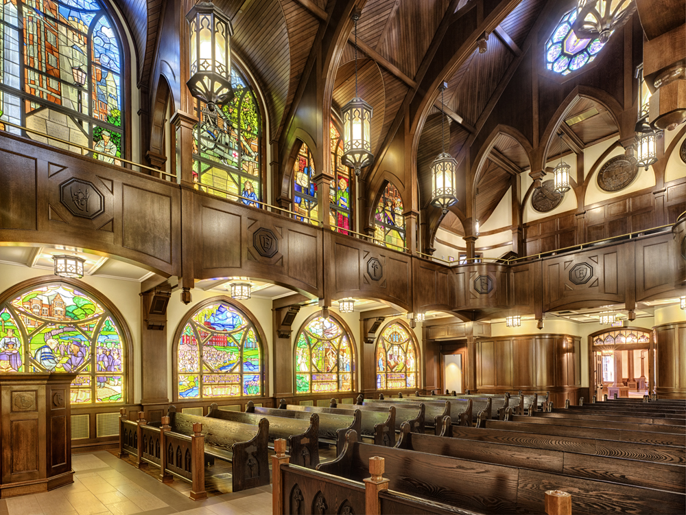 John P. Stopen Cowles Hall Elmira College Project inside church