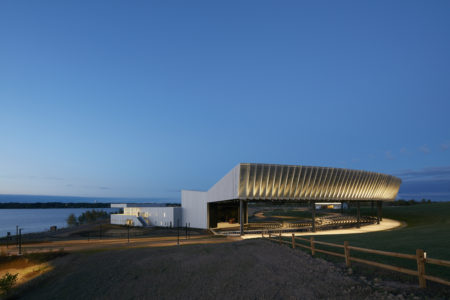 John P. Stopen Lakeview Amphitheater complete exterior at night