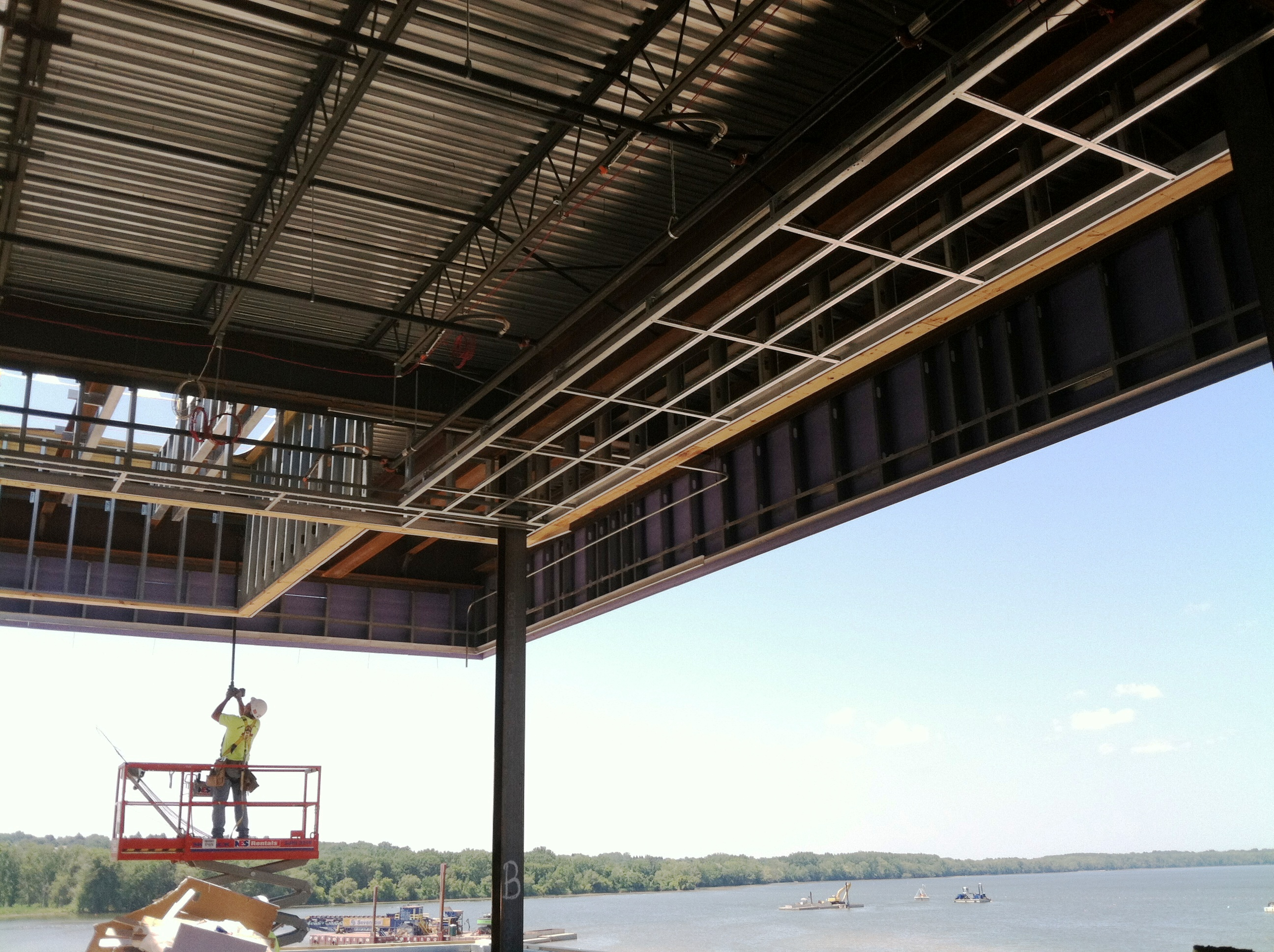 John P. Stopen Lakeview Amphitheater Project roof construction