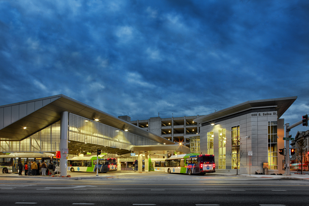 John P. Stopen CNYRTA Syracuse Hub Project exterior at night