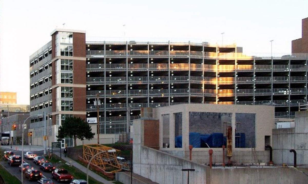John P. Stopen Crouse Hospital Parking Garage exterior completed