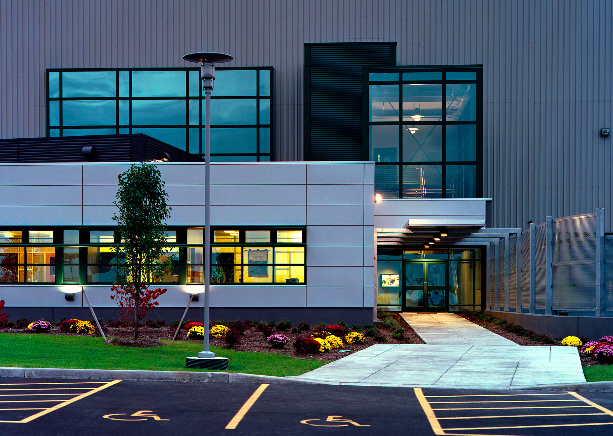 John P. Stopen Solvay Paperboard Industrial Project entrance at night
