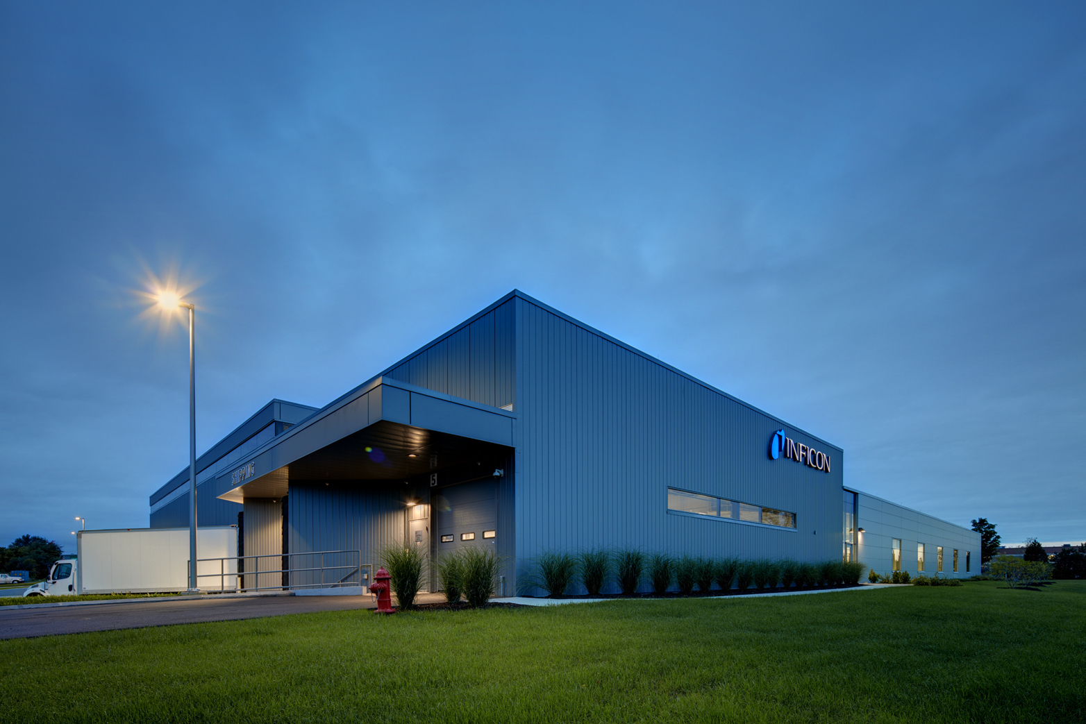 John P. Stopen Inficon Industrial Project exterior at night
