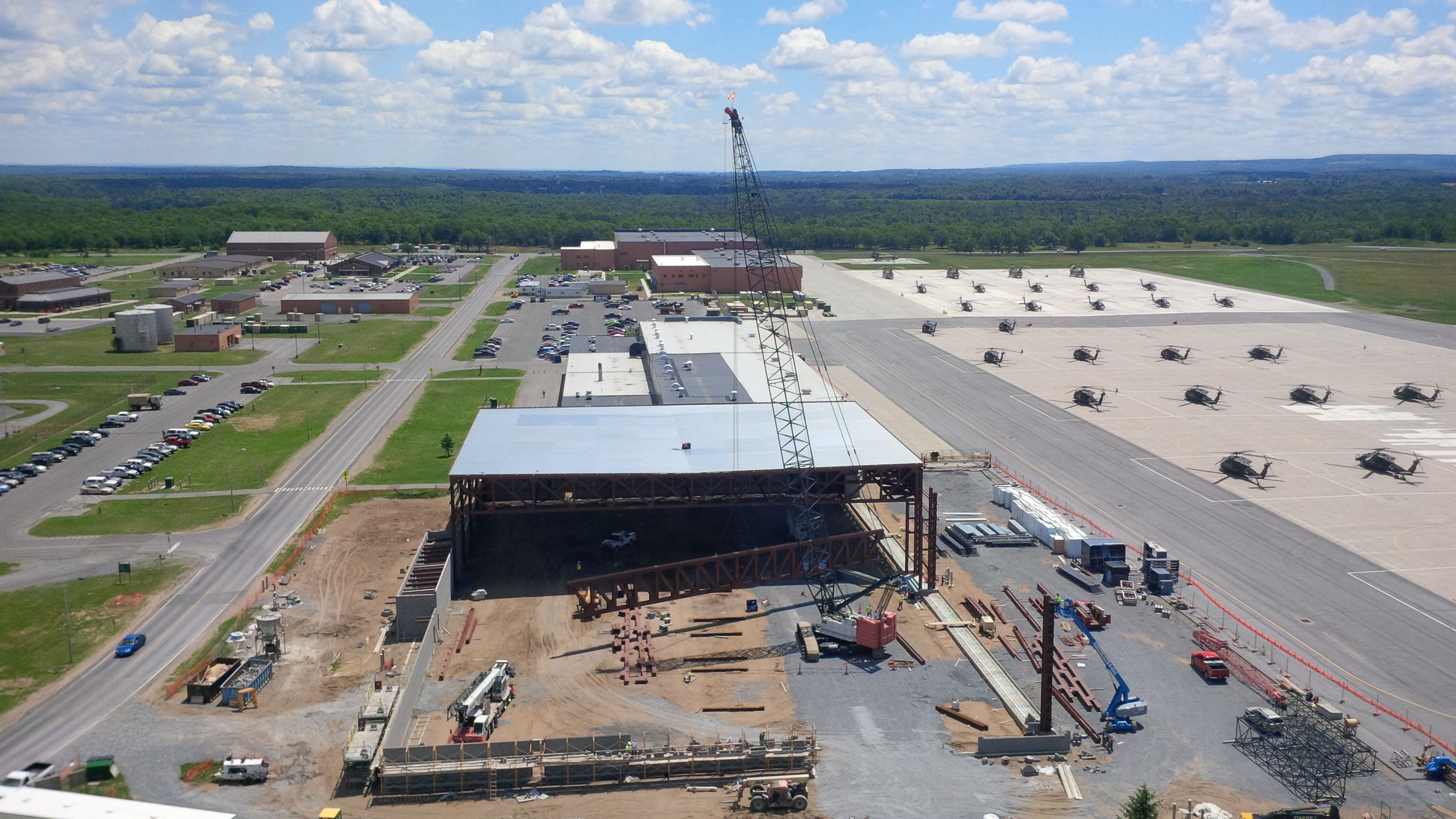 John P. Stopen Fort Drum Hangar Project drone view construction