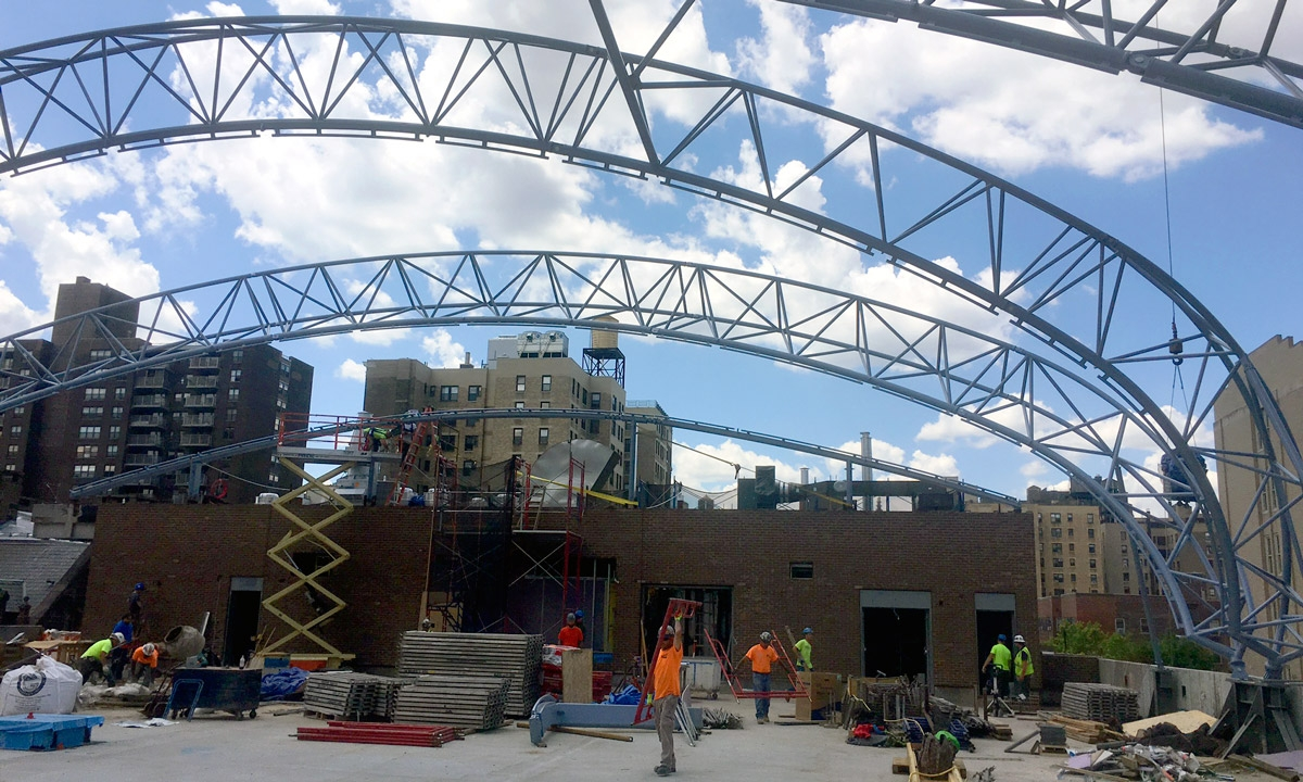 John P. Stopen Trinity School Project radial steel trusses construction