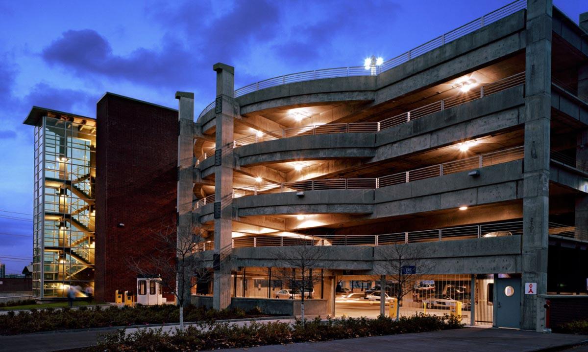 John P. Stopen University Ave Parking Garage stairway at night
