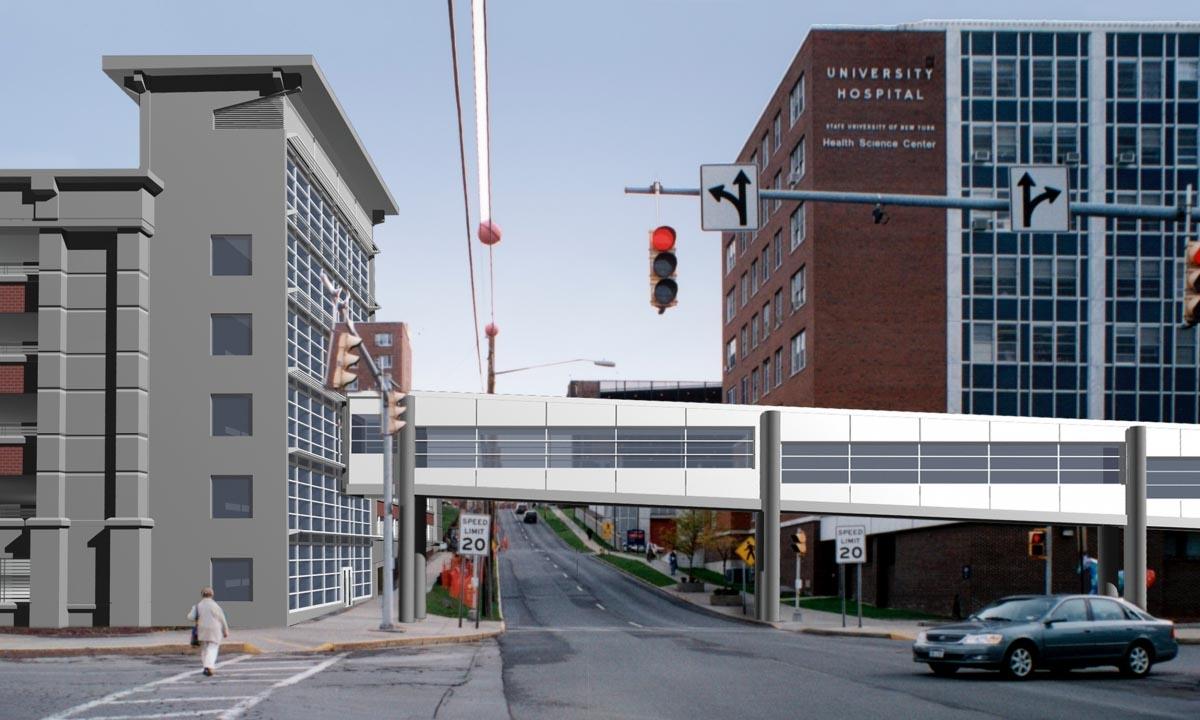 John P. Stopen SUNY Upstate Parking Garage walking bridge