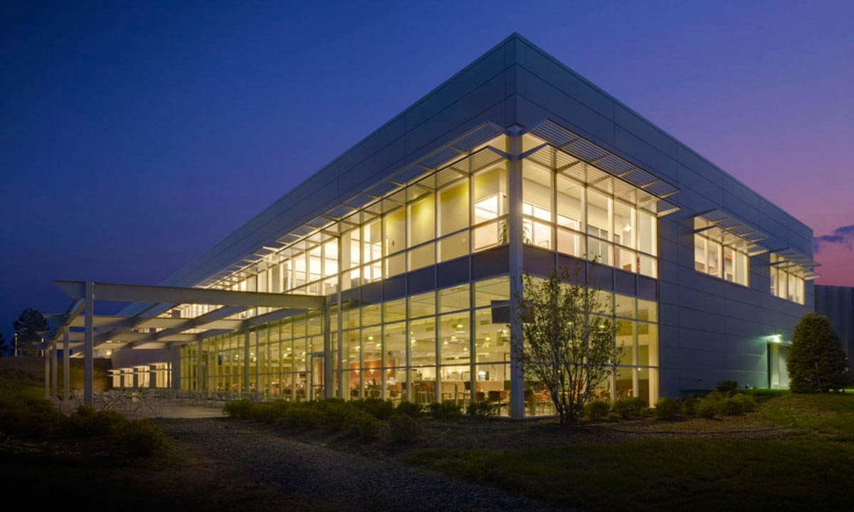 John P. Stopen Welch Allyn Building Consolidation Project exterior at night